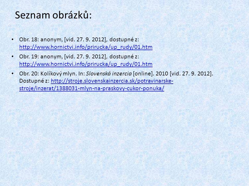 Seznam obrázků: Obr. 18: anonym, [vid. 27. 9. 2012], dostupné z: http://www.hornictvi.info/prirucka/up_rudy/01.htm.